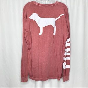 PINK Oversized Long Sleeve Red Top Large